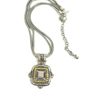 Chico's Silver Gold Tone Necklace Bail Crystal